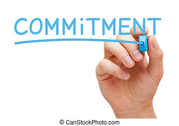 Commitment Blue Marker - Hand writing Commitment with blue...
