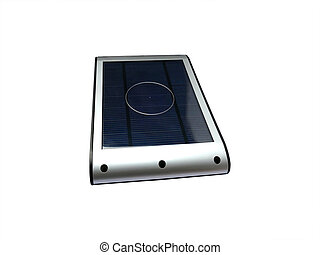 Solar powered external battery charger isolated on white