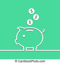 Money piggy bank in line on blue background. Vector