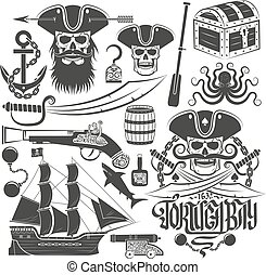 Print - Set of elements for creating pirate logo or tattoo...