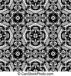 beautiful monochrome pattern vintage ethnic ornament on a gray background