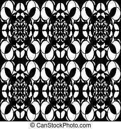 monochrome pattern vintage ethnic ornament on a black background