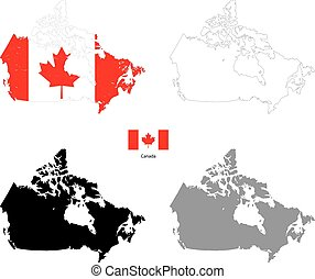 Canada country black silhouette and with flag on background,...