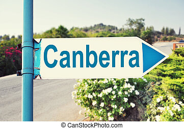 Canberra, Australia Road Sign with beautiful nature and road...