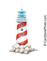 Lighthouse tower at stone rocks hill vector illustration. Sea beacon on seashore stone bank. Eps10 isolated white background