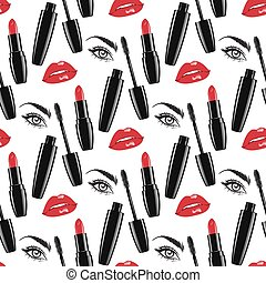 Seamless pattern makeup vector