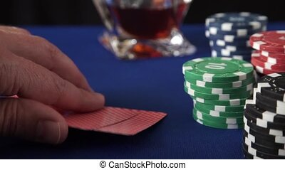 Stack of chips and four aces - Stack of chips and two aces...