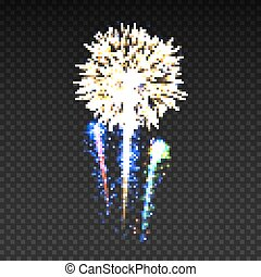 Festive patterned fireworks isolated bursting in various shapes sparkling pictograms set.