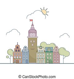 Beautiful outline city landscape Little colorful town in...