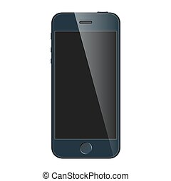 Realistic blue mobile phone with blank screen isolated on...