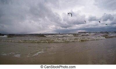 Kitesurfing people in river Dnepr - Kitesurfing people...