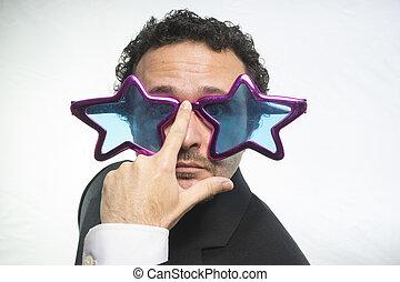 ENGRAÇADO, loucos, achiever, estrelas, homem negócios,...