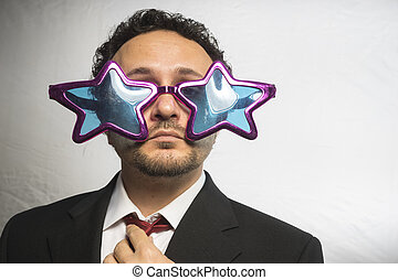 Celebrity, businessman with glasses stars, crazy and funny...