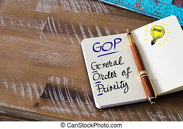Business Acronym GOP General Order of Priority - Conceptual...