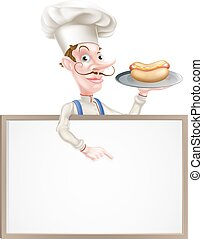 Cartoon Chef Holding Hotdog Pointing at Sign