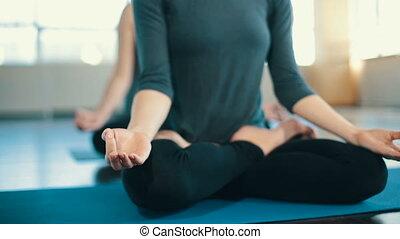 Young women meditating indoors - Two Young women do yoga...