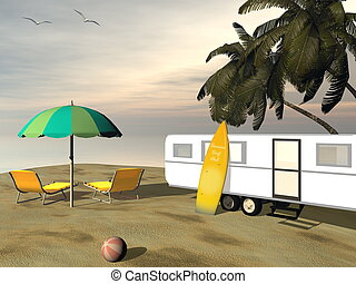 Caravan holidays at the beach - 3D render - Caravan holidays...