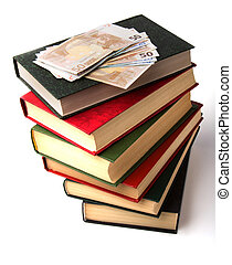 Money over book stack Education concept