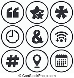 Quote, asterisk footnote icons Hashtag symbol - Clock, wifi...