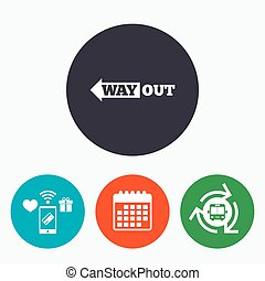 Way out left sign icon Arrow symbol Mobile payments,...
