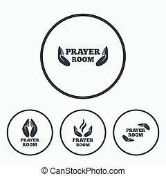Prayer room icons. Religion priest symbols.