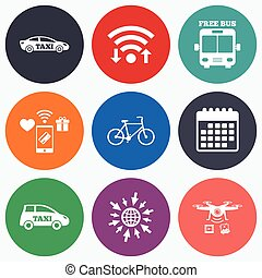 Public transport icons Free bus, bicycle signs - Wifi,...