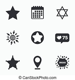 Star of David icons Symbol of Israel - Calendar, like...