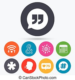 Quote, asterisk footnote icons Hashtag symbol - Wifi, like...