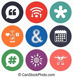 Quote, asterisk footnote icons Hashtag symbol - Wifi, mobile...