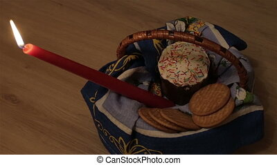 Easter lies in a wicker basket - Easter is in the basket,...