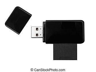 memory - Black USB memory stick isolated on white background...