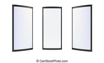 Advertising blank lightboxes on white background 3d render