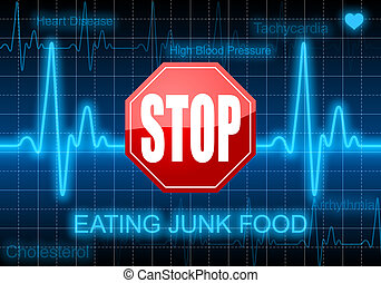 Stop eating junk food - on blue heart rate monitor...