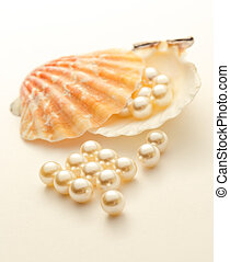 White pearls scattering out of seashell closeup