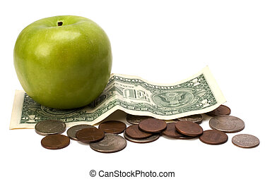 Apple and money isolated Health concept