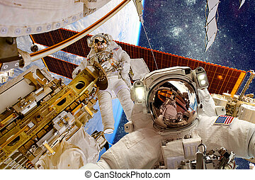 International Space Station and astronaut. - International...