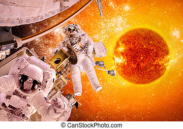 Spacecraft and astronauts in space on background sun star....