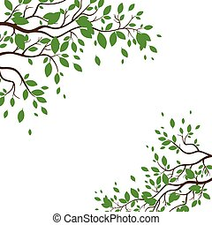 Vector Background with Green Leaves