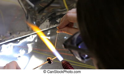 Woman and gas burner, time lapse - Woman and gas burner,...