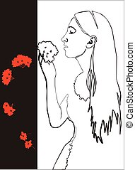 Girl with flower in black 03
