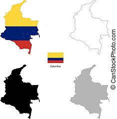 Colombia country black silhouette and with flag on...