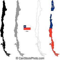Chile country black silhouette and with flag on background