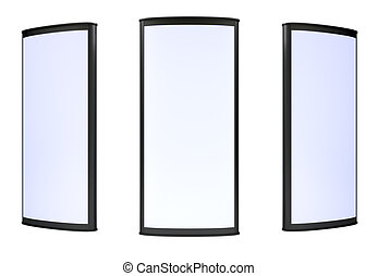 Three blank lightboxes on white background 3d render