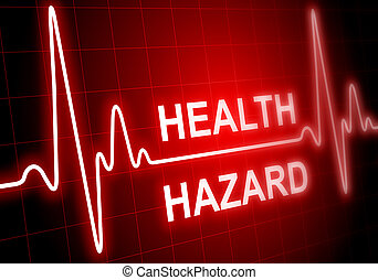 HEALTH HAZARD - written on red heart rate monitor expressing...