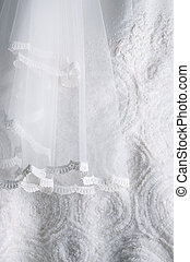 wedding dress background - close up detail of a white...