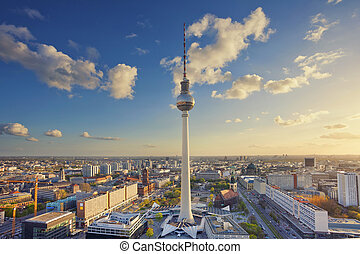 Berlin. - Image of Berlin downtown district during golden...