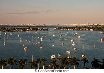 White Boats in Blue Water of Biscayne Bay - Many white...