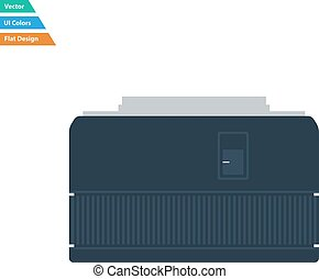 Flat design icon of photo camera 50 mm lens in ui colors....