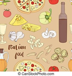Italian food pattern - Hand drawn sketch Italian food...