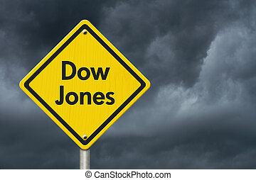 Yellow Warning Dow Jones Highway Road Sign, Red, Yellow...